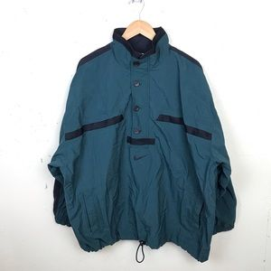 VTG Nike Half Button Teal Windbreaker Jacket XXL